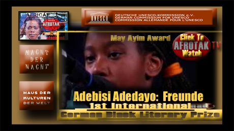 MAY AYIM AWARD Adedayo Adebisi May AYIM AWARD Winner Ehrenpreis Jugend Pan Afrikanischer Literatur Preis Deutschland Youth Honary Award Pan African Literature Award Germany AFROTAK TV cyberNomads Schwarz Deutsch Kultur